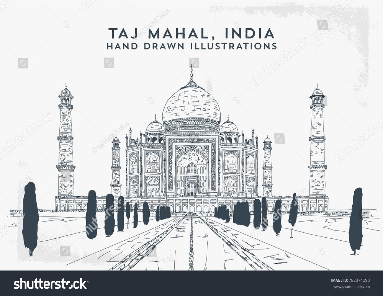 Taj Mahal, India. Vector hand drawn illustration. V1 | EZ Canvas