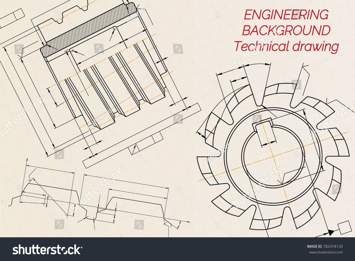 Mechanical engineering drawings on beige technical vectores en stock mechanical engineering drawings on beige technical paper background cutting tools milling cutter industrial malvernweather Image collections