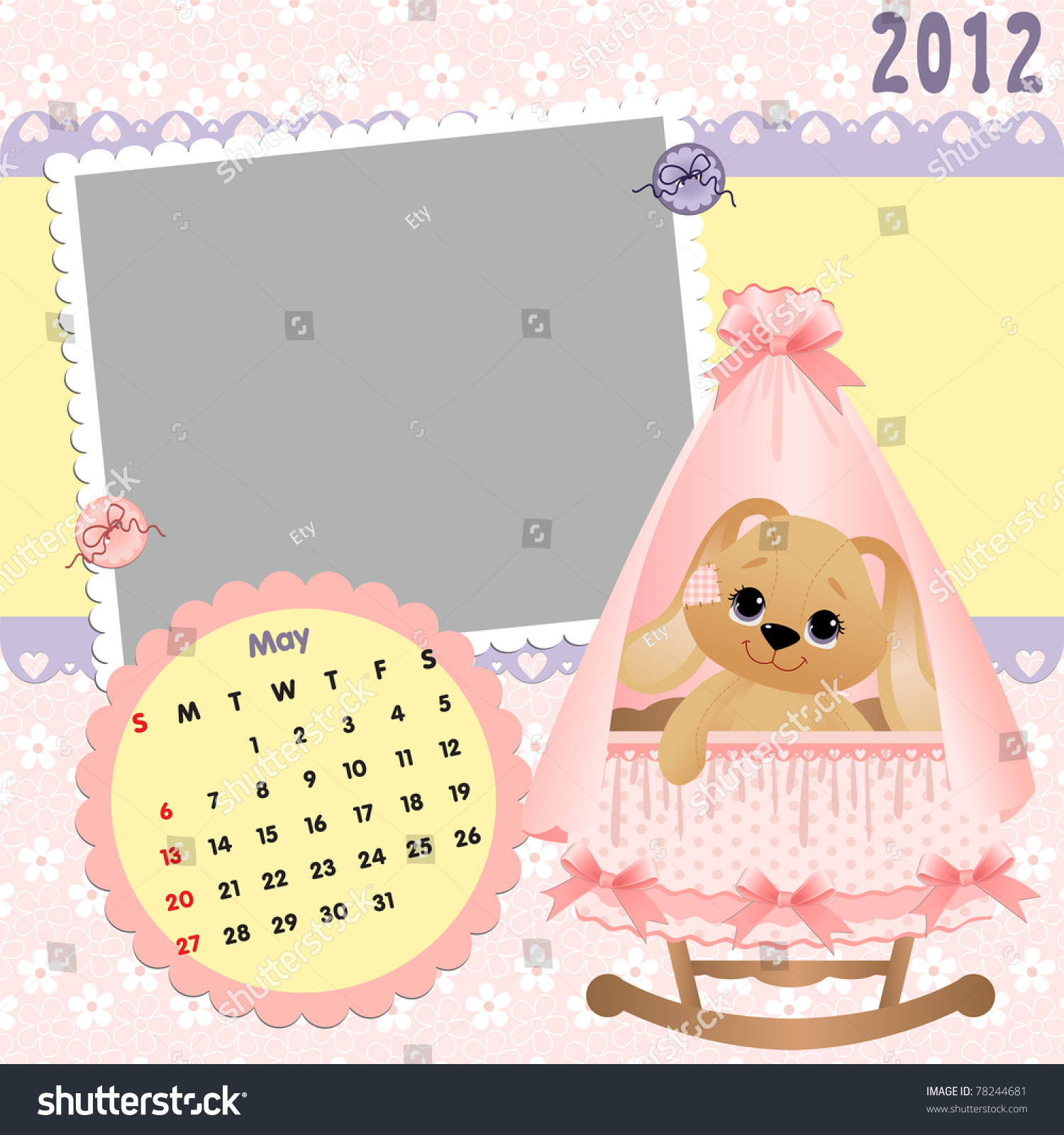 Baby Calendar May : Baby s monthly calendar for may with photo frames