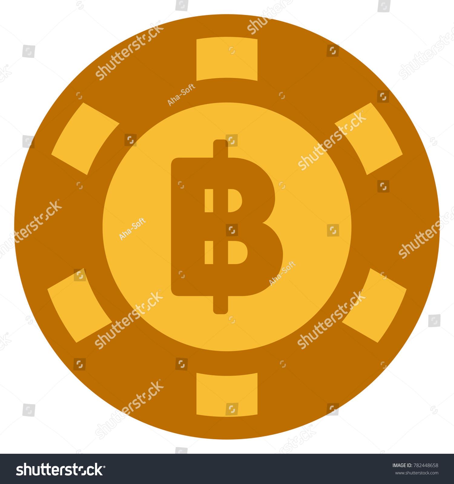 Thai Baht Golden Casino Chip Icon Stock Illustration 782448658