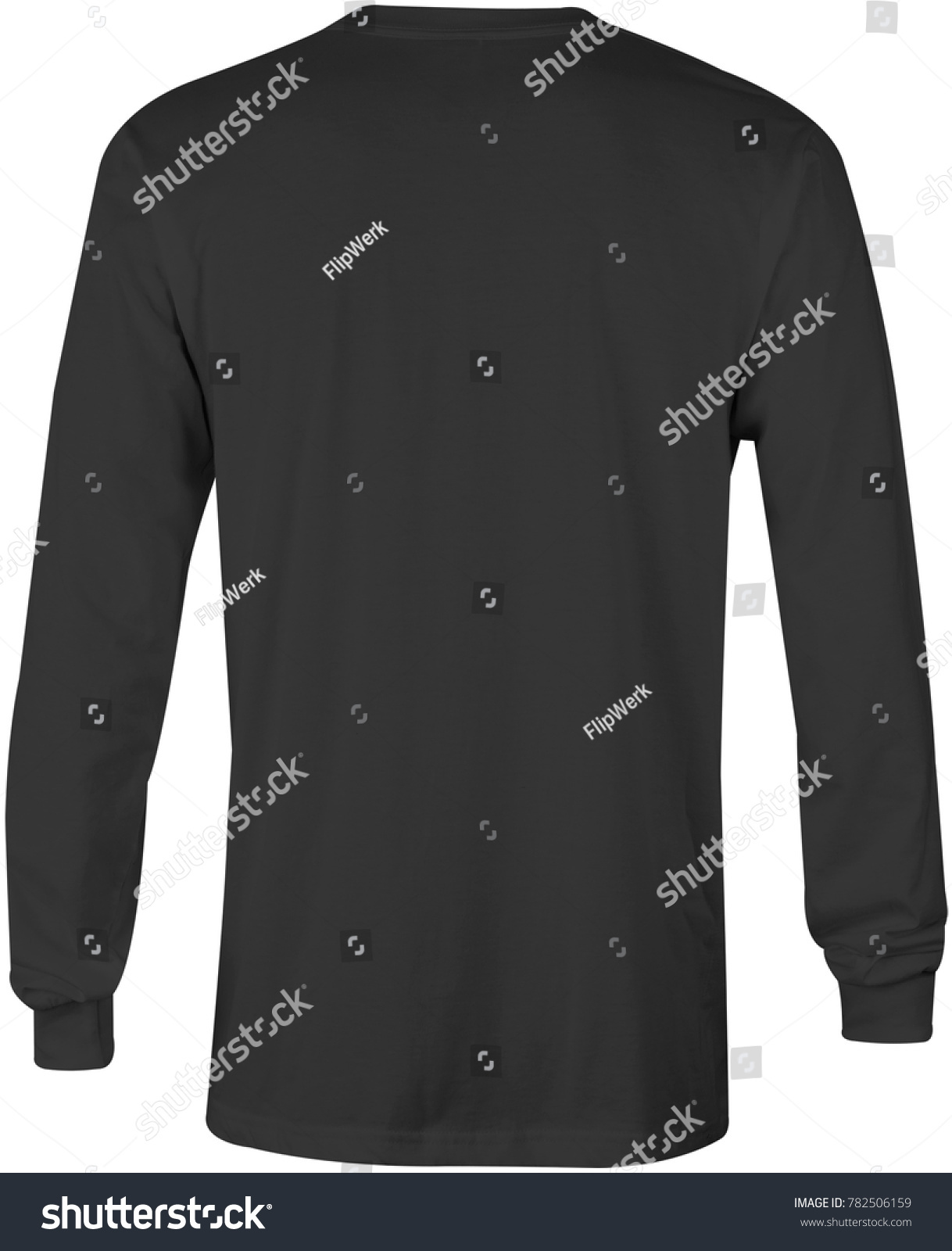 Blank Long Sleeve T Shirt Back View Black Color In White Background For Mock Up Template