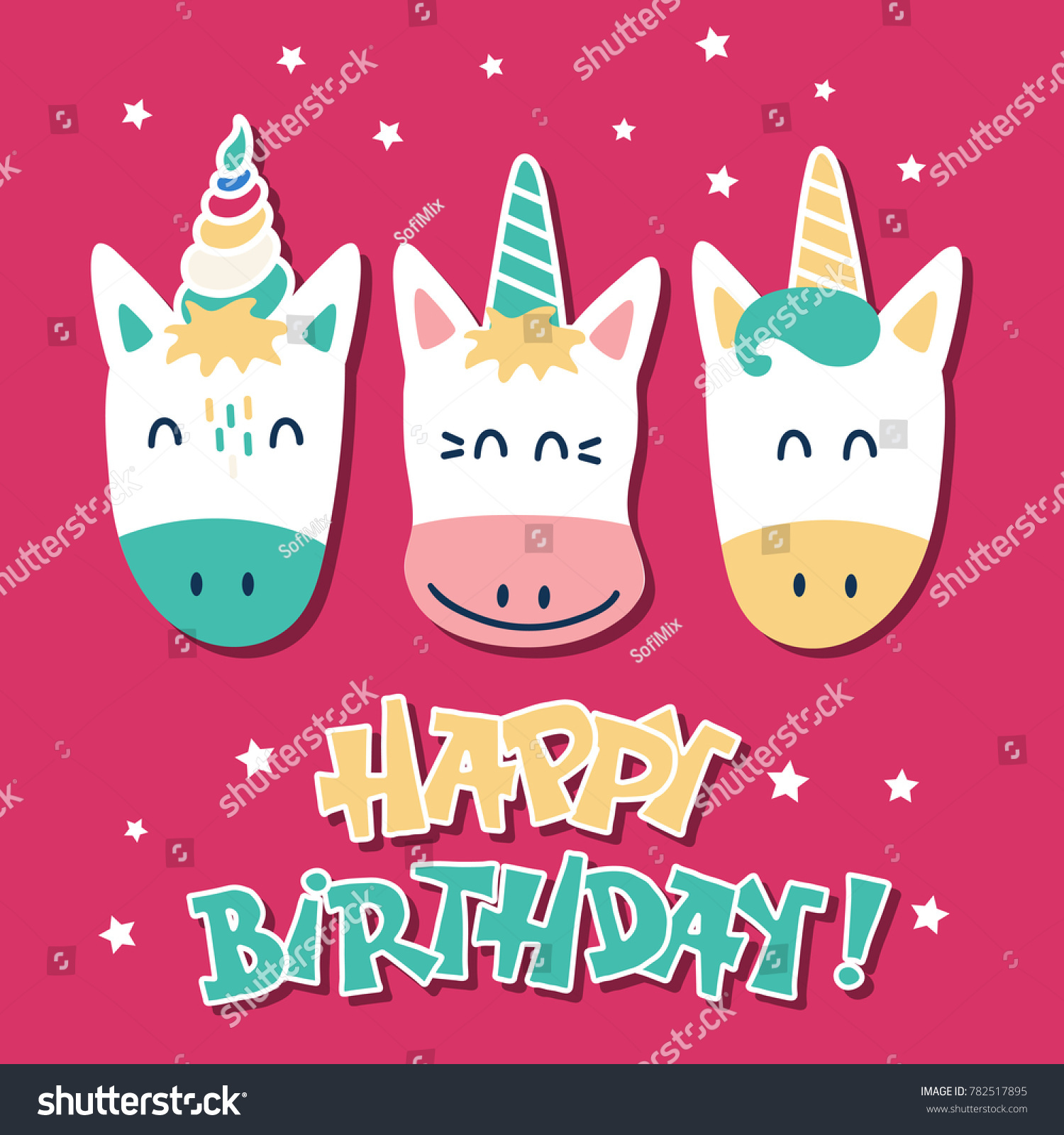 Cute Unicorns Greeting Card Happy Birthday Stock Vector