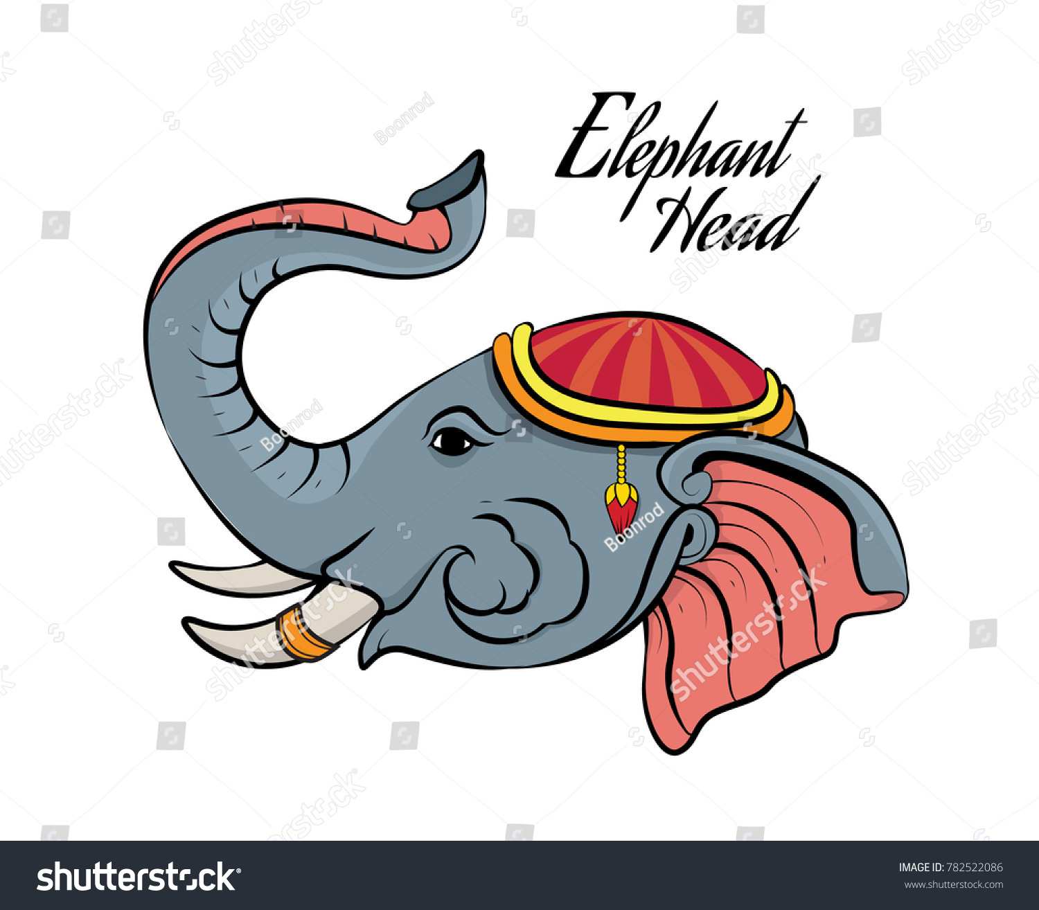 Head Elephant Symbol Graphic Thailand Style Stock Vector Royalty