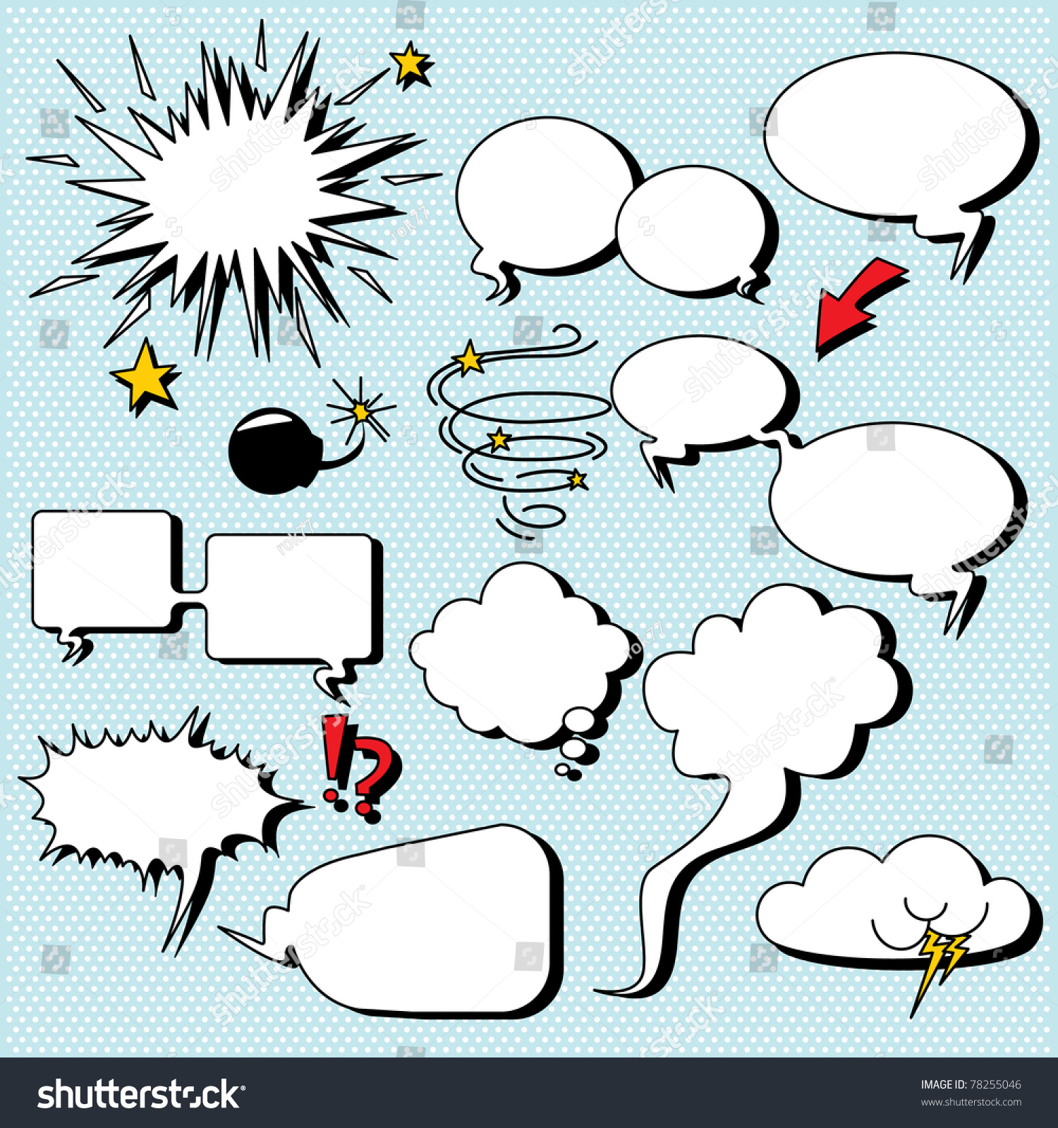 Comic Speech Bubbles Illustrations Comiccartoon Style Stock Vector ...