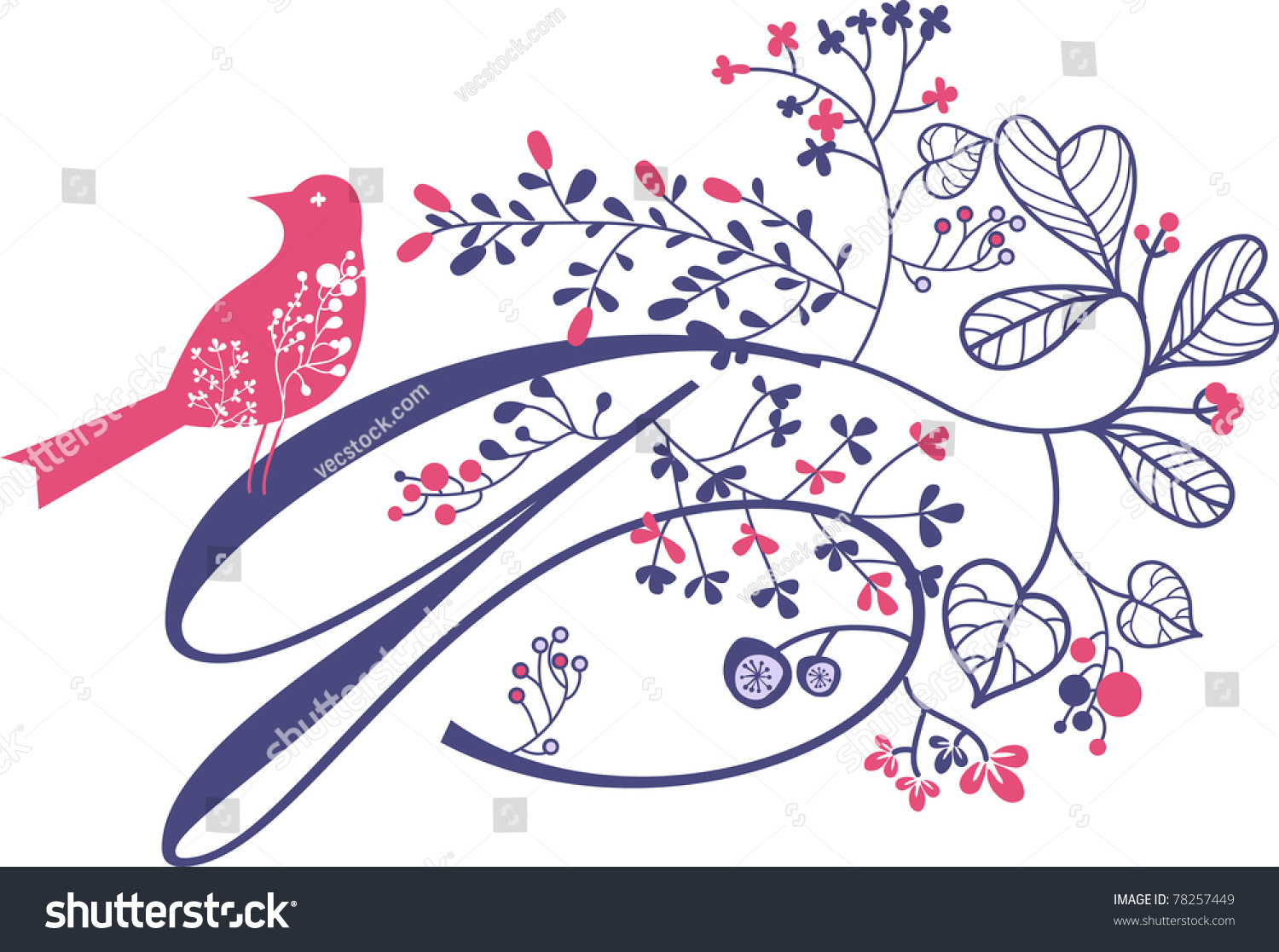cool letter Q with bird and flowers - cool decor art- card and invitation