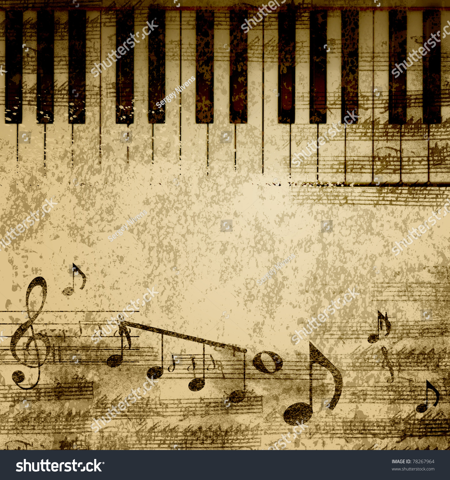 Music: Music Notes On Old Paper Sheet Stock Illustration 78267964
