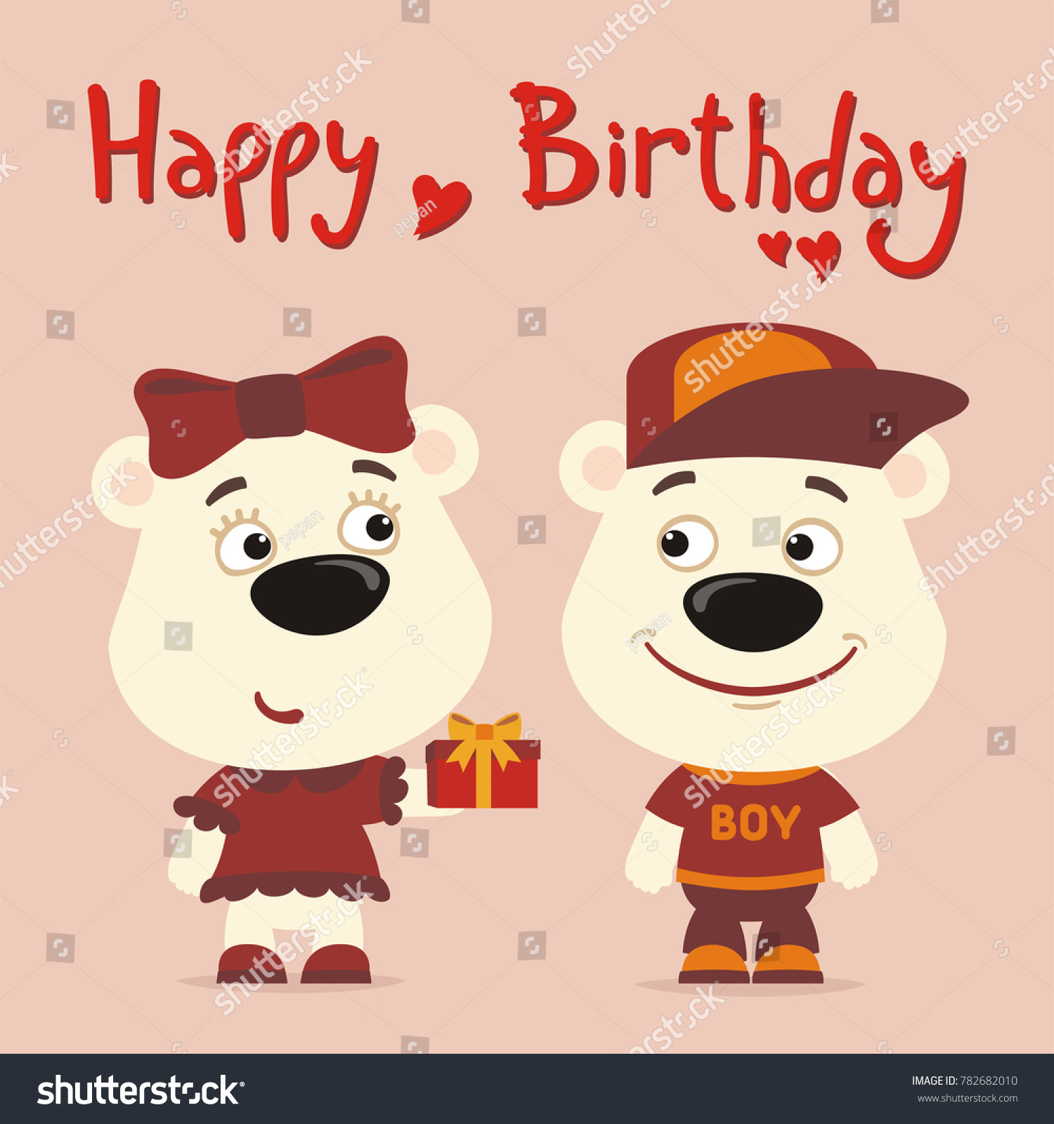 Happy birthday greeting card funny polar stock vector 782682010 happy birthday greeting card funny polar bear girl gives gift to boy polar bear kristyandbryce Image collections