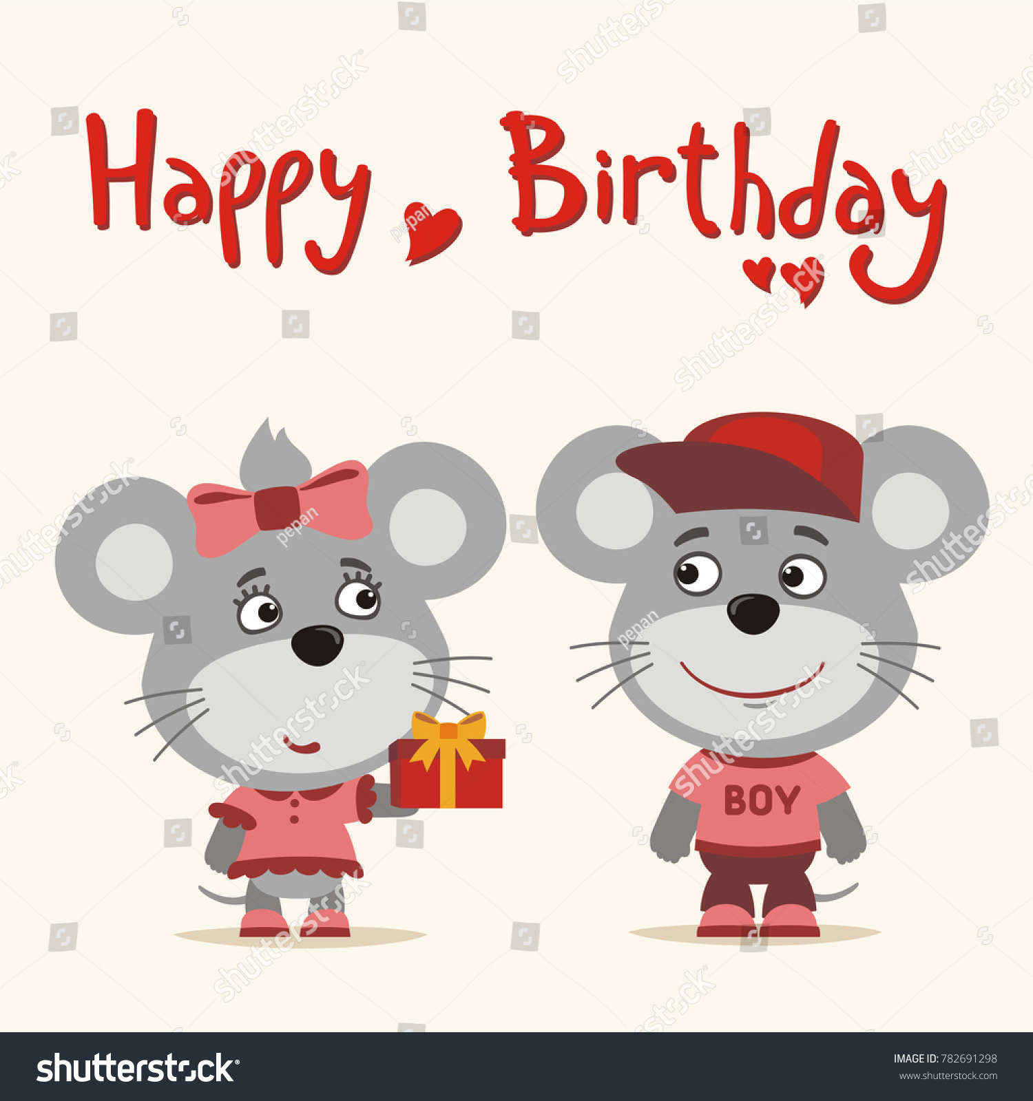 Happy Birthday Greeting Card Funny Mouse Stock Vector Royalty Free