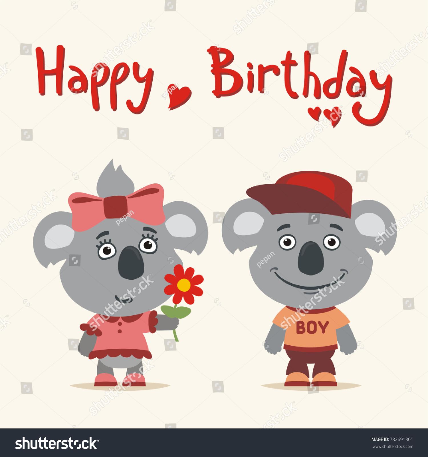 Happy birthday greeting card funny koala stock vector 782691301 happy birthday greeting card funny koala girl gives gift to boy koala for birthday bookmarktalkfo Images