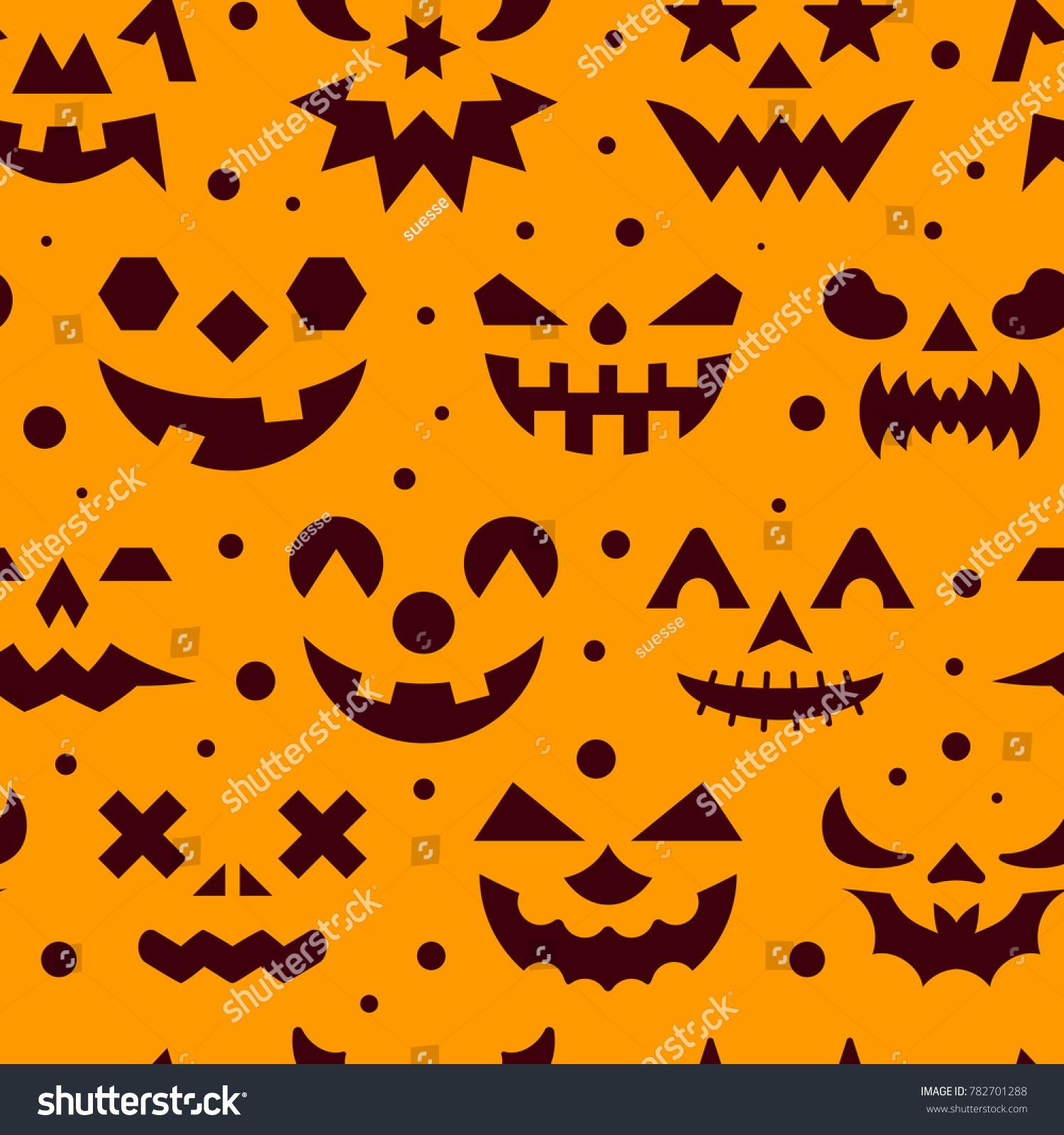 halloween seamless pattern horror face illustration stock