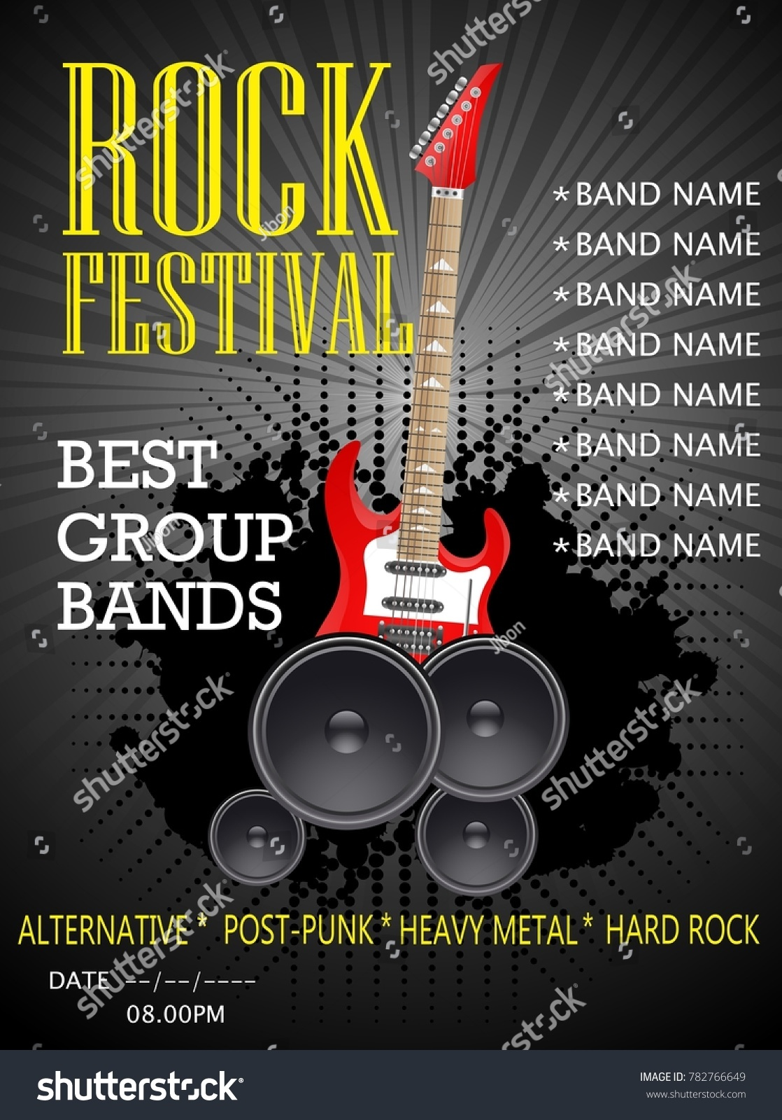 Rock Festival Banner Design Template Guitar Stock Vector Royalty Free 782766649