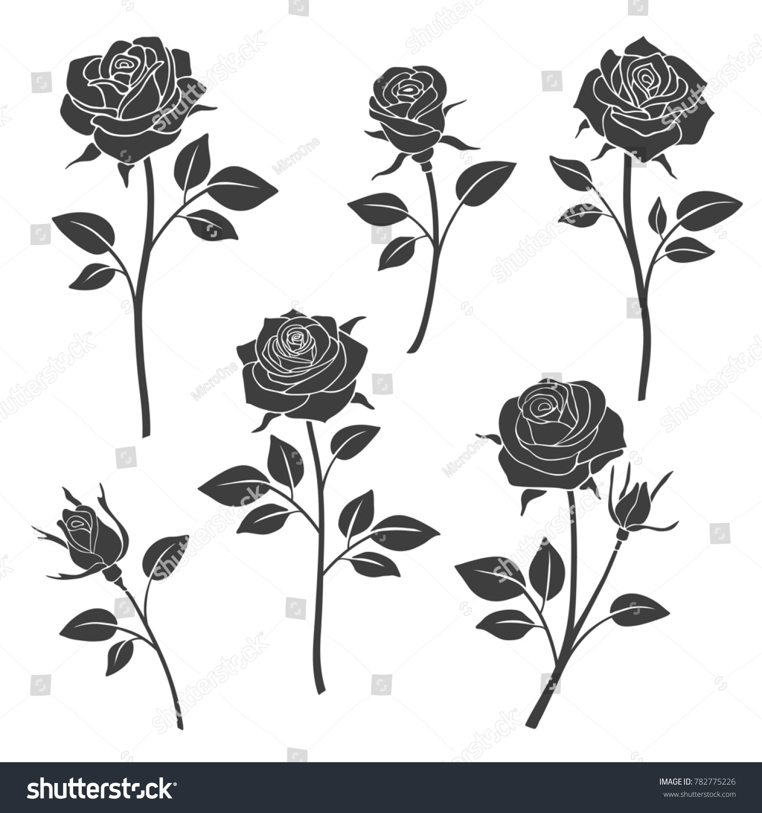 Royalty Free Stock Illustration Of Rose Buds Silhouettes Flowers