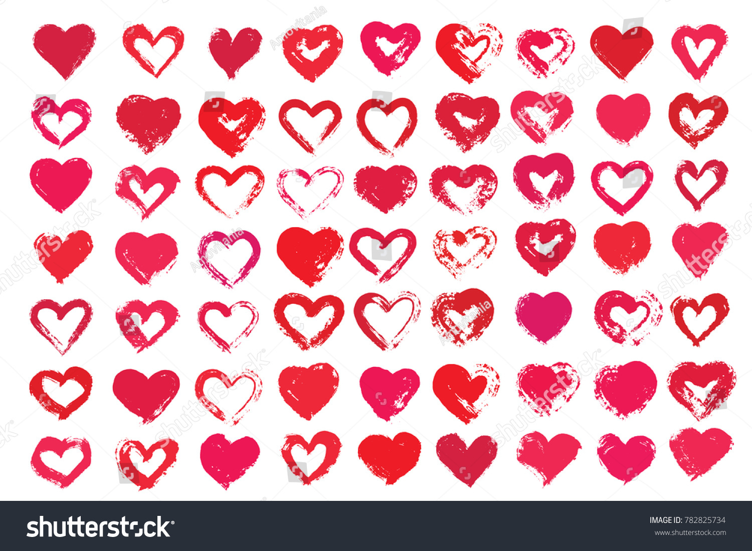 Vector Heart Shapes Painted Love Symbols Stock Vector Royalty Free