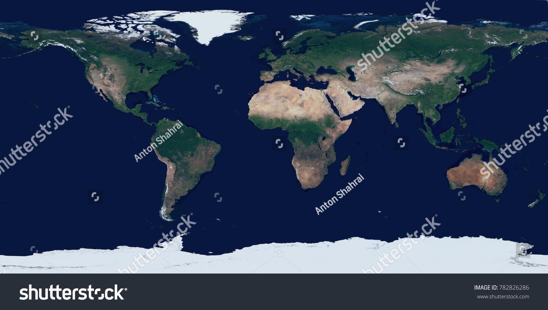 High Resolution Satellite Image Earth Equirectangular Stock
