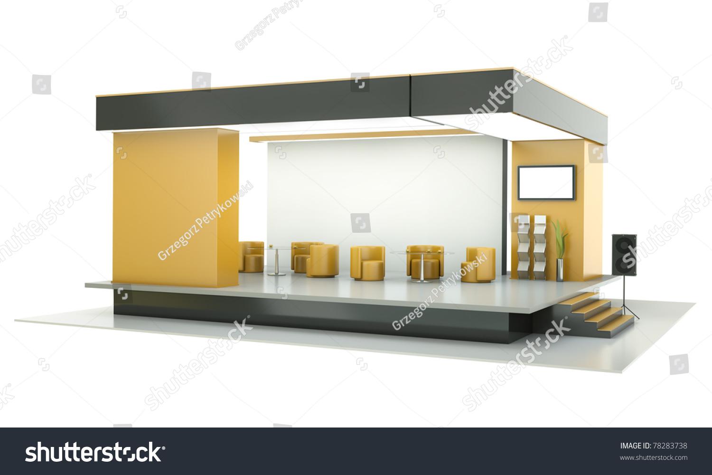 D Rendering Exhibition : Empty exhibition stand d render stock photo