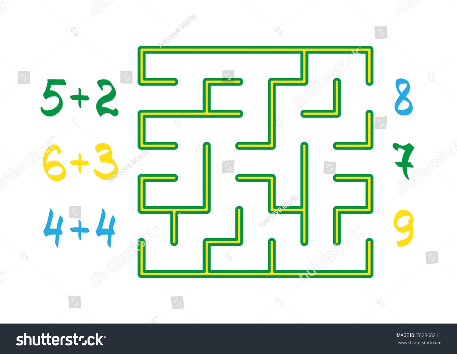 Labyrinth Color Numbers Children On White Stock Vector 782868211 ...