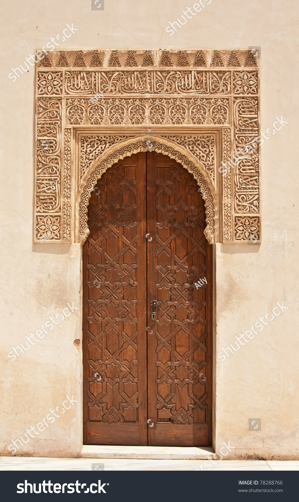 A door decorated in arabic style in Alhambra Moorish palace in Granada Andalusia Spain & Door Decorated Arabic Style Alhambra Moorish Stock Photo 78288766 ...