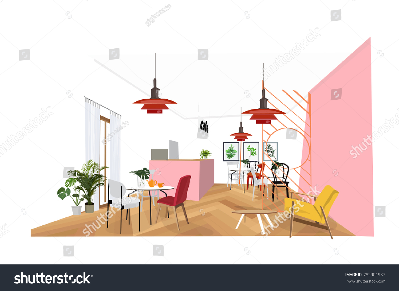 Cafe Restaurant Interior Design Illustration Commercial