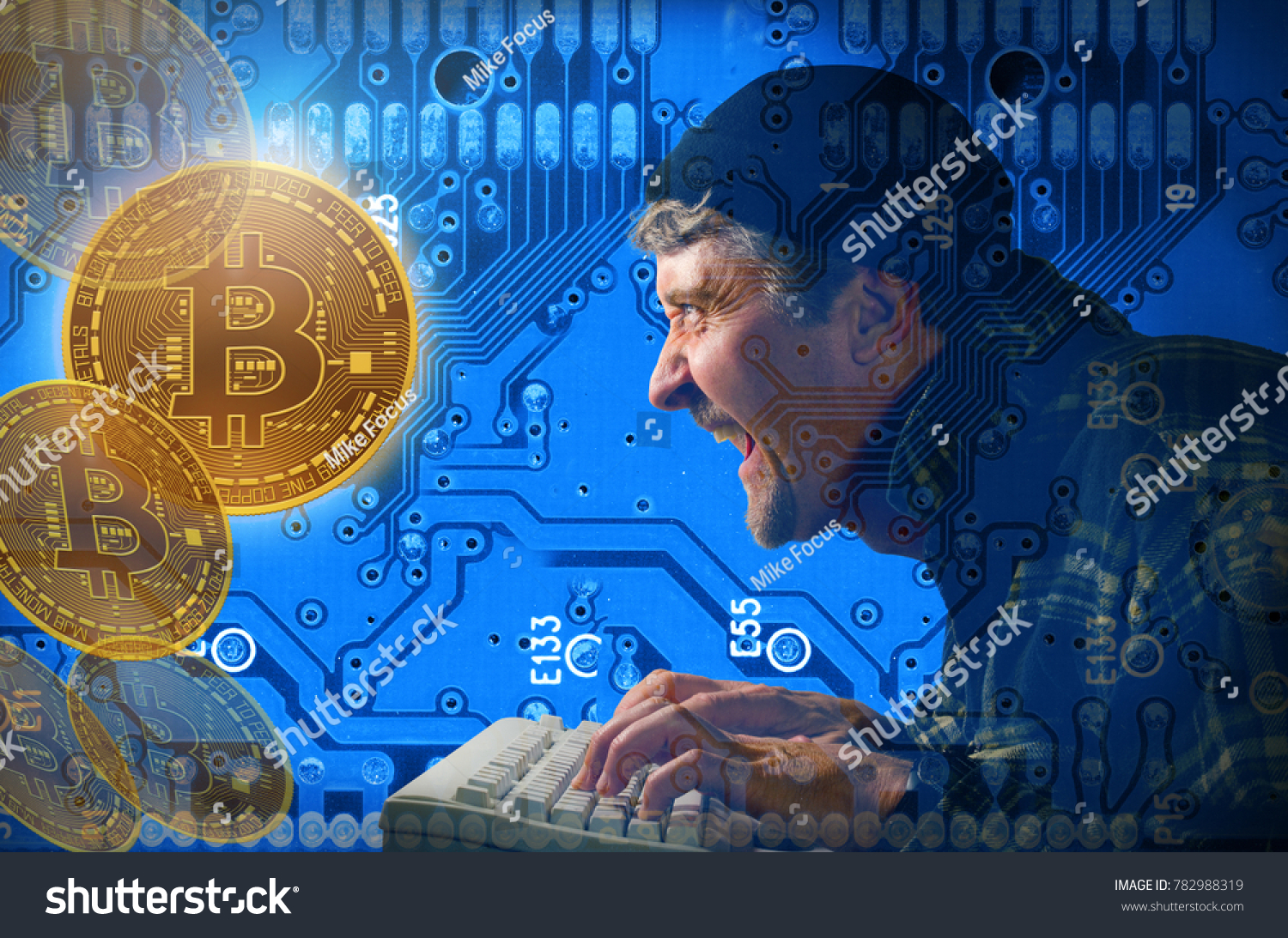 Stealing Mining Bitcoins Hacker Against Circuit Stock Photo Edit Man Hand Holding A Magnifying Glass Above Board And With Background Laughing As He Pounds Away