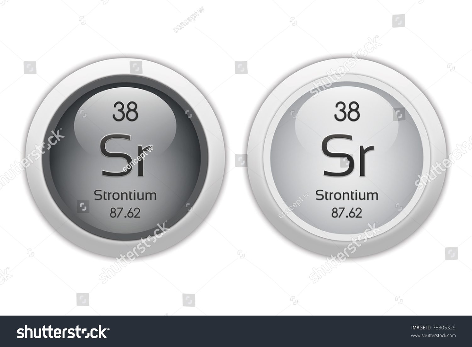 Strontium Two Web Buttons Chemical Element Stock Illustration