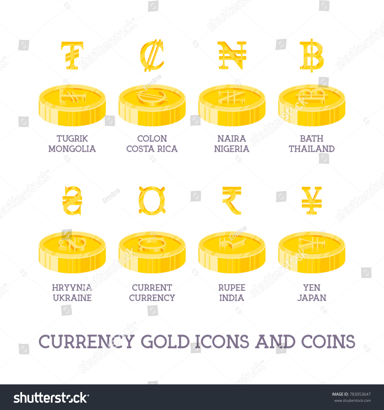 World currency signs coins big set stock vector 783053647 world currency signs and coins big set symbols of money and gold and silver icons biocorpaavc Gallery