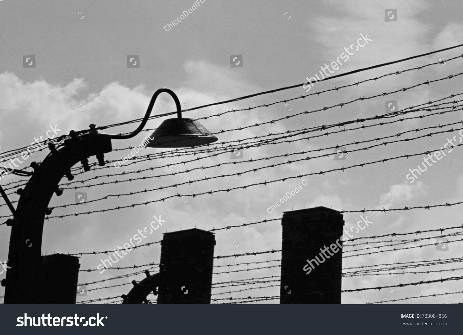 Electric Fence Barbed Wire Old Lamp Stock Photo Edit Now 783081856 Wires With And An Black White Effect