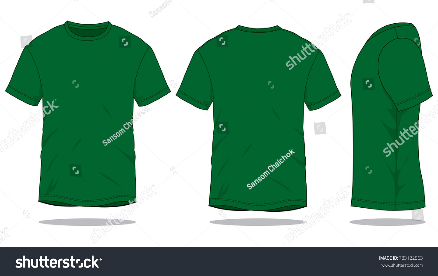Dark Green T Shirt For Template FrontBack And Side Views