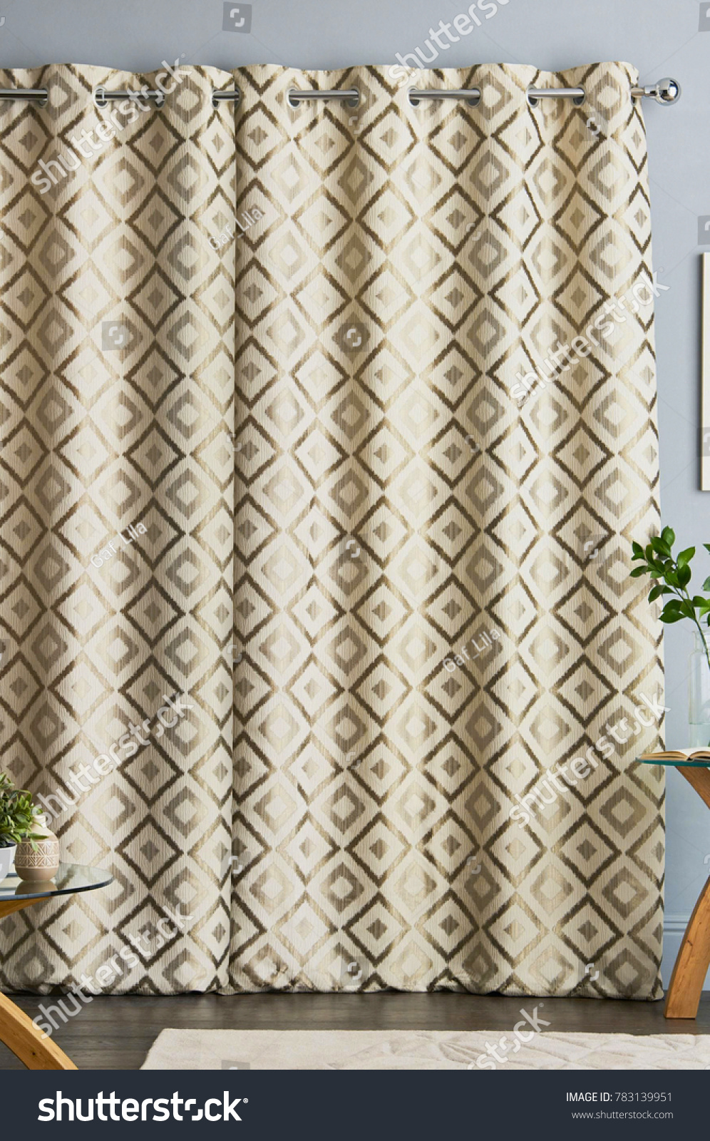 Stylish Home Living Room Curtains Stock Photo (Royalty Free ...