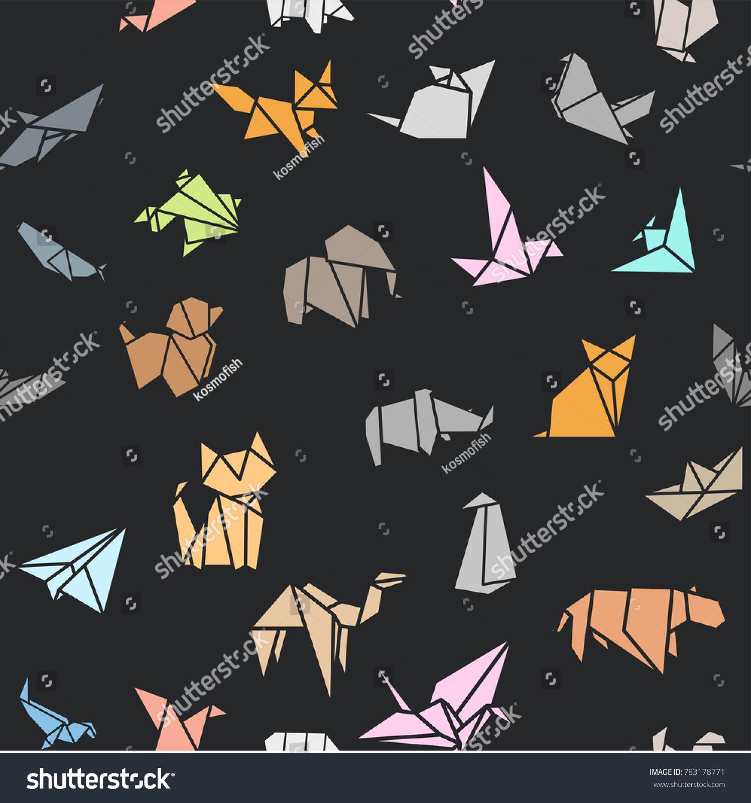 シームレスなパターンの壁紙の背景に折り紙の折り畳み 紙の動物の形