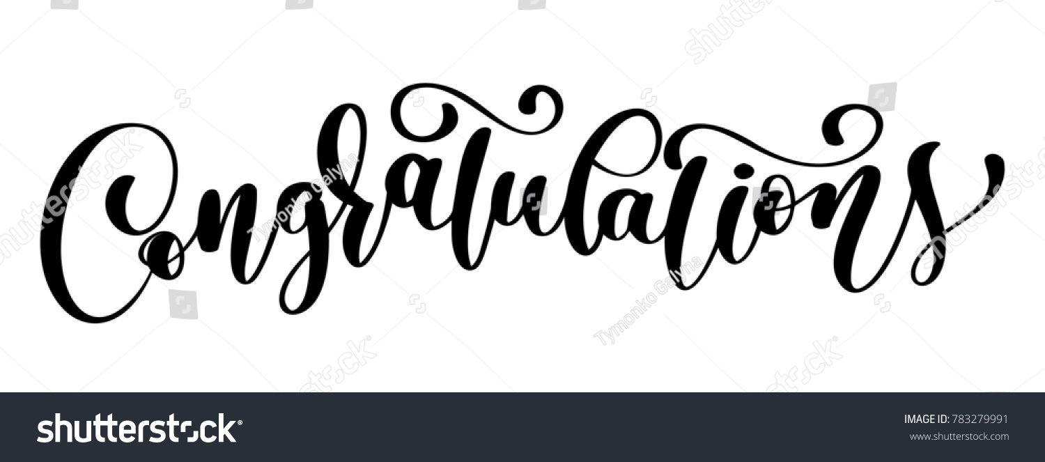 Congratulations Calligraphy Lettering Text Card With Stock