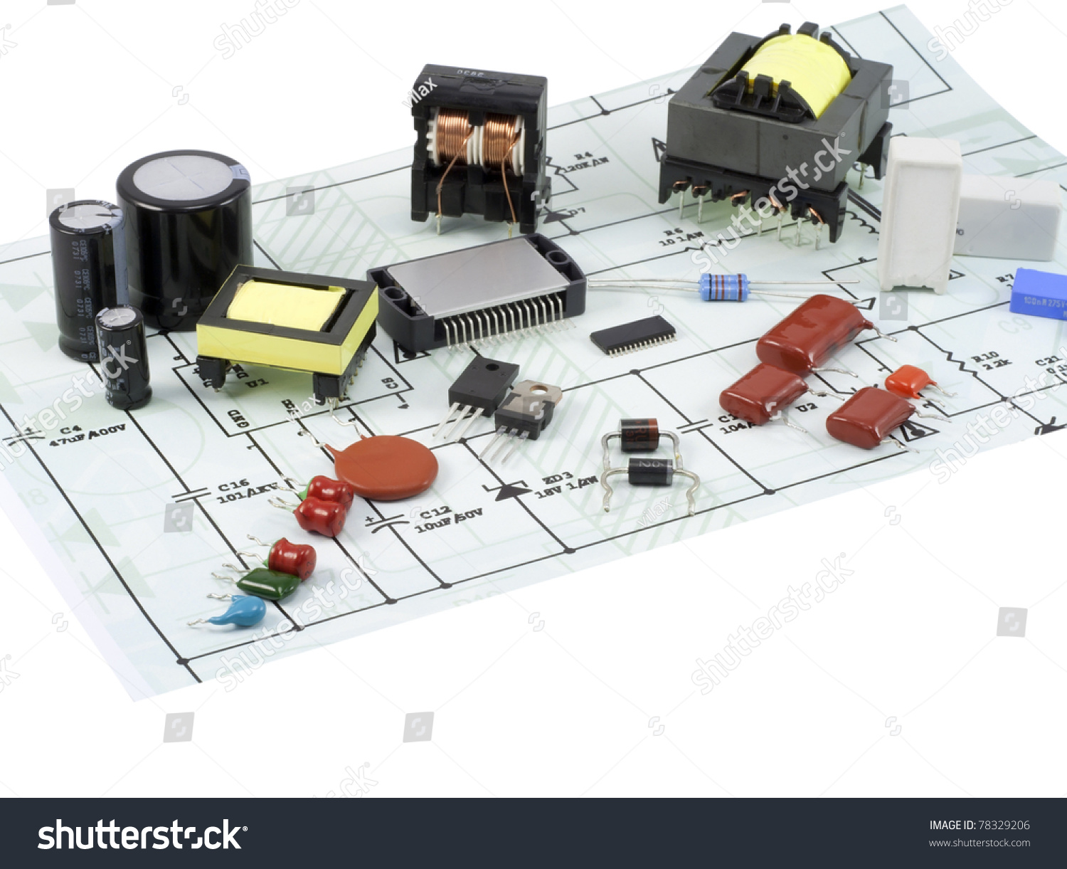 Electronic Components Spare Parts Resistors Capacitors Stock Photo And In A Circuit Capacitor Diodes Transformers Transistors