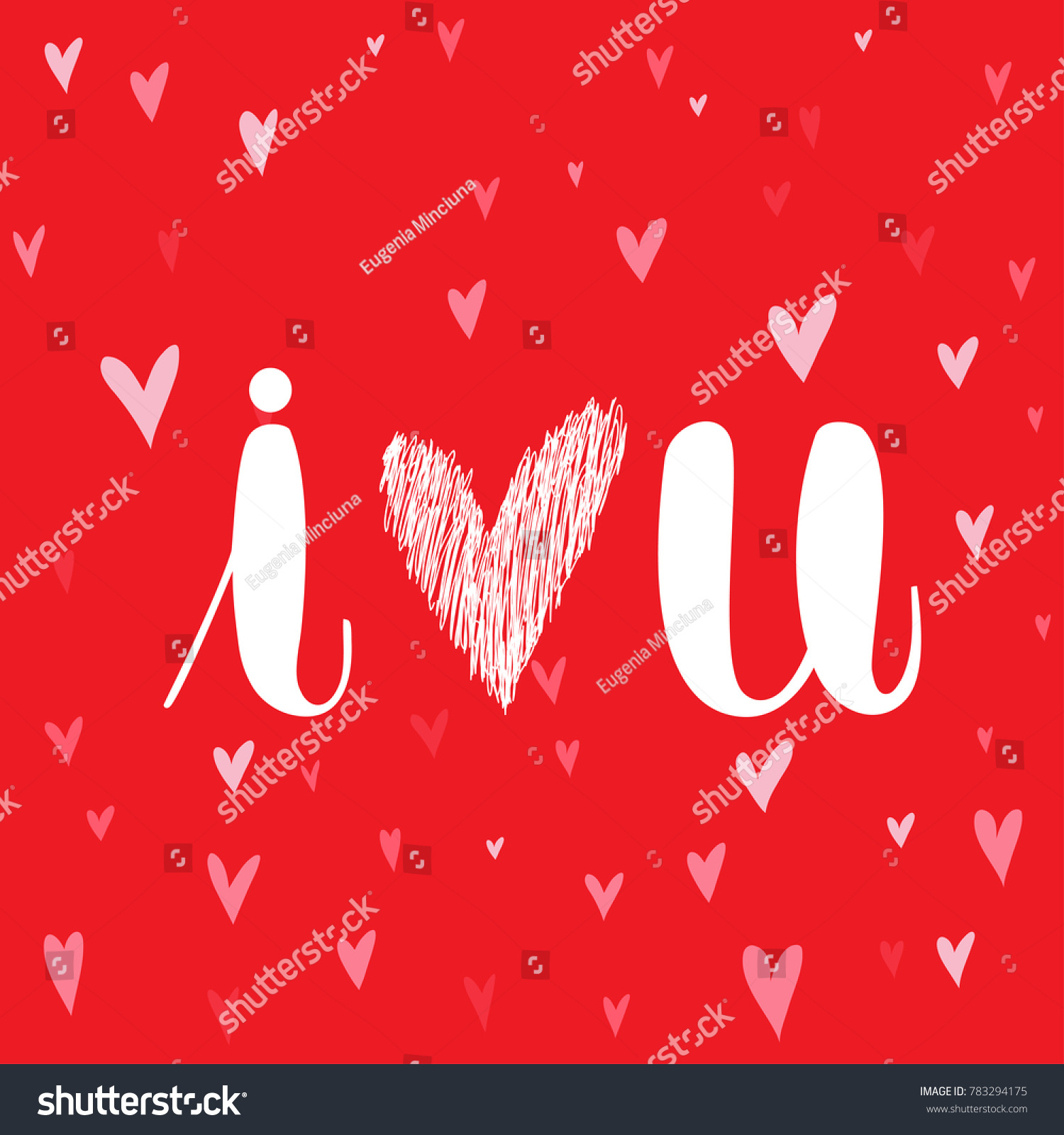 Love You Handwritten Lettering Quote About Love Stock Vector ...