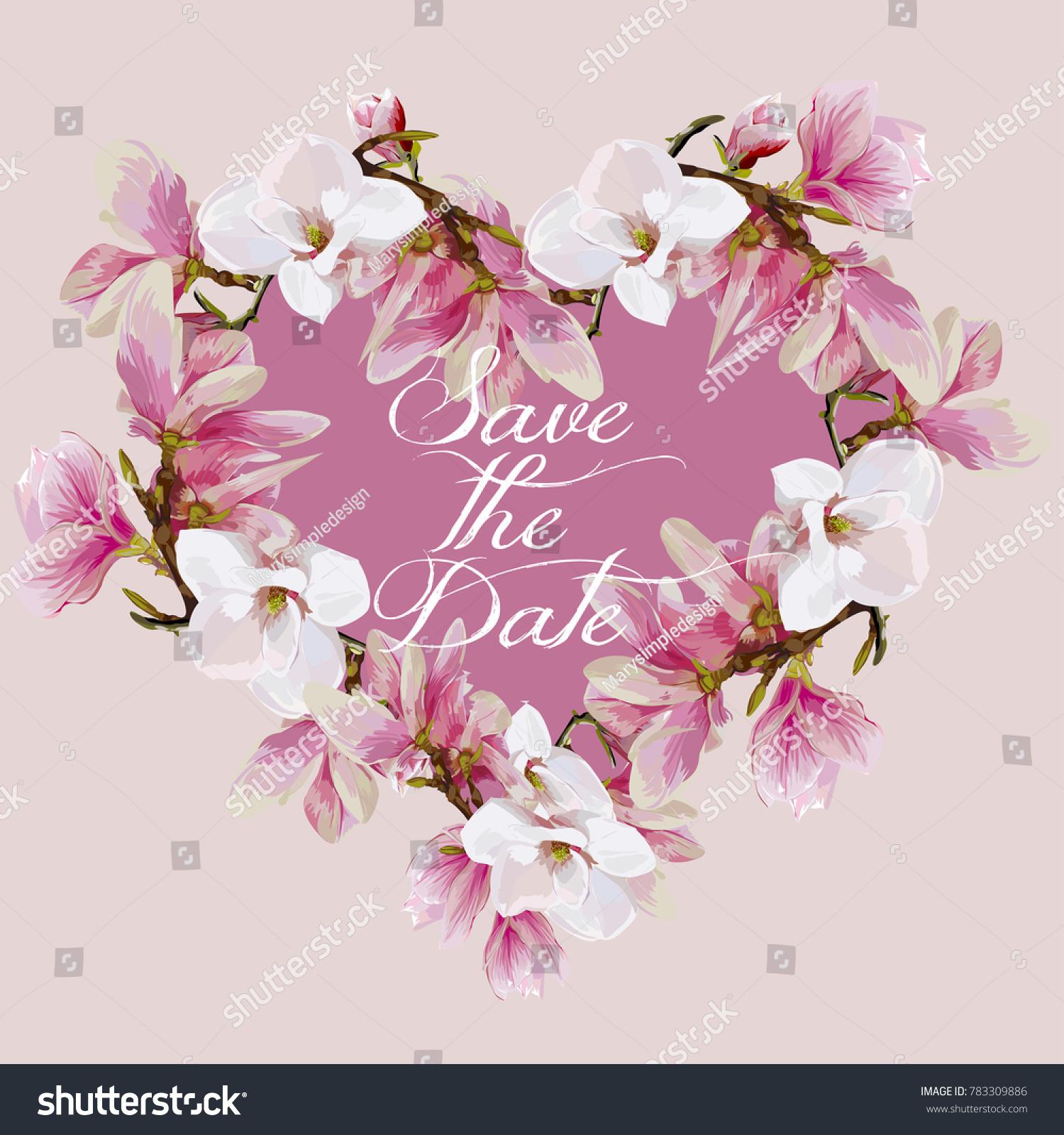 Vector Pink Magnolia Heart Shape Frame Template Ez Canvas
