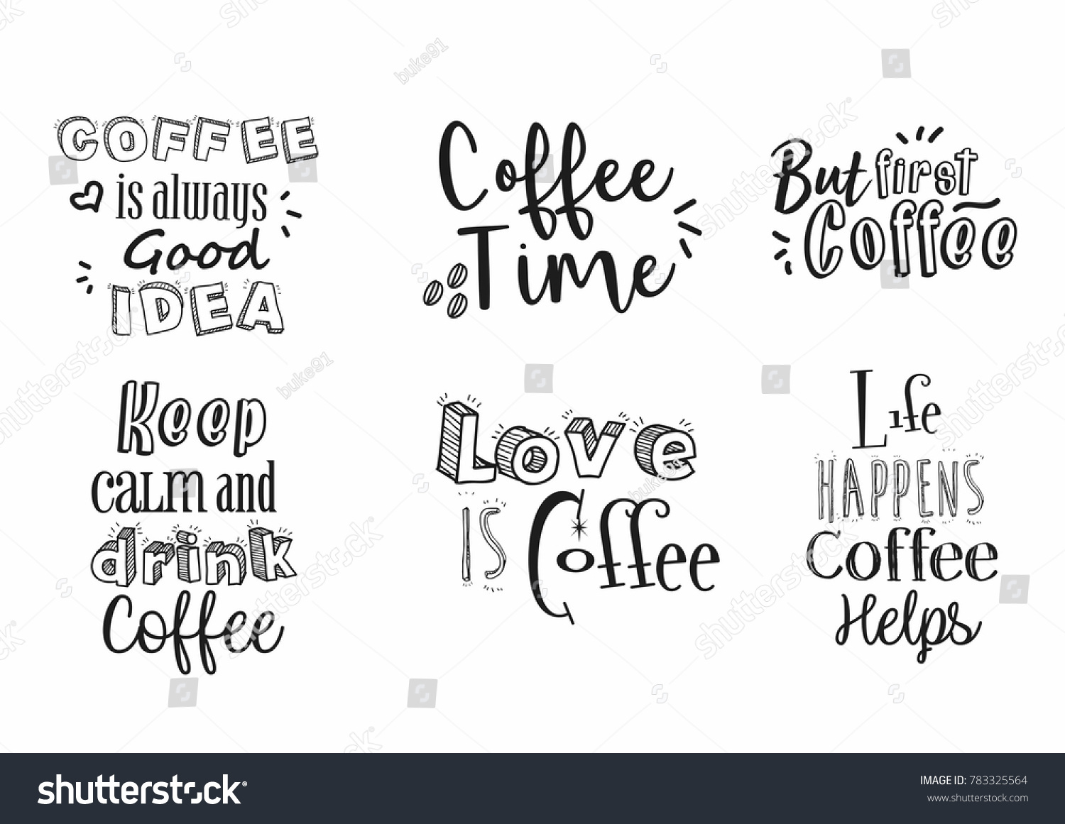 Quote coffee typography hand draw love coffee background wallpaper pattern