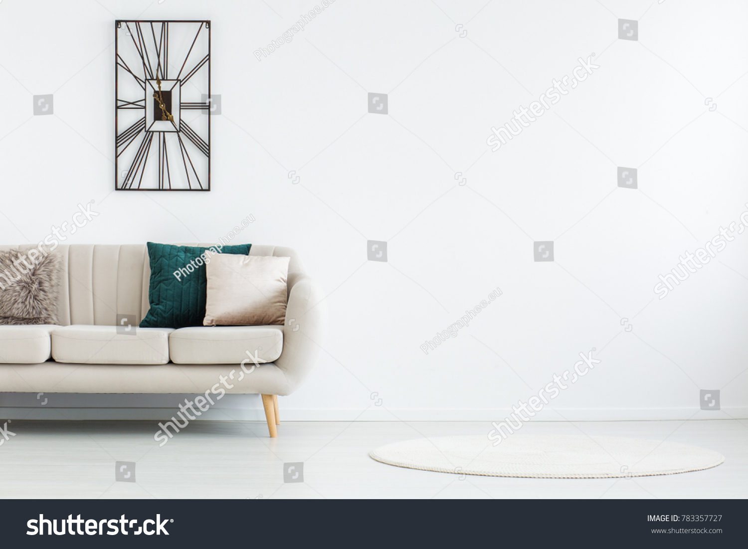 Round Rug White Empty Living Room Stock Photo (Royalty Free ...