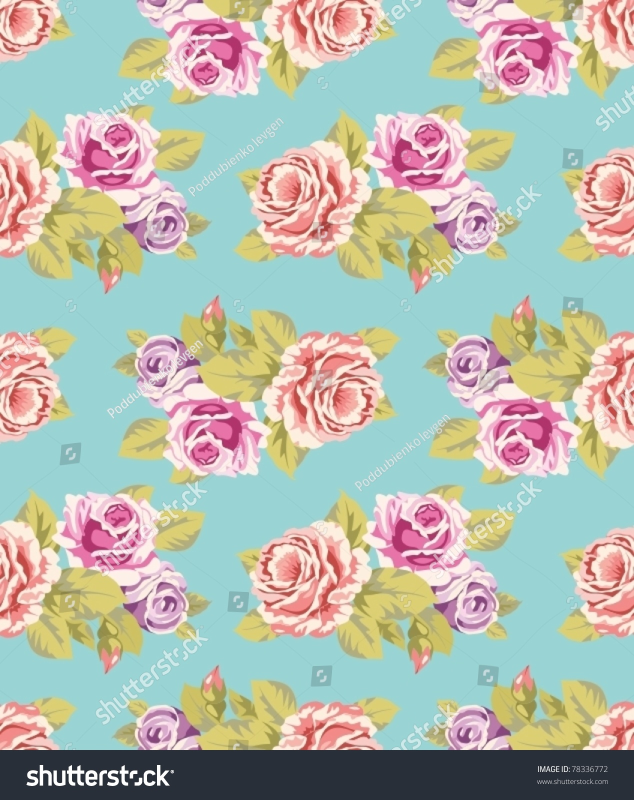 Seamless Wallpaper Pattern Purple Pink Roses Stock Vector Royalty