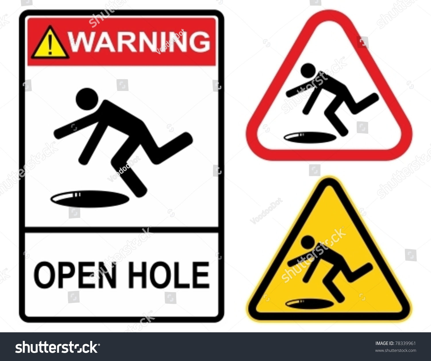 Open Hole Warning Sign Construction Industry Stock Vector ...