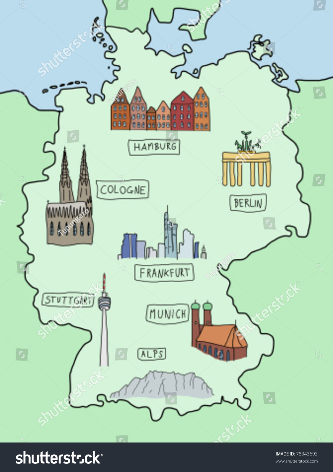 Map Of Germany Frankfurt.Germany Famous Places On Doodle Map Stock Vector Royalty Free 78343693