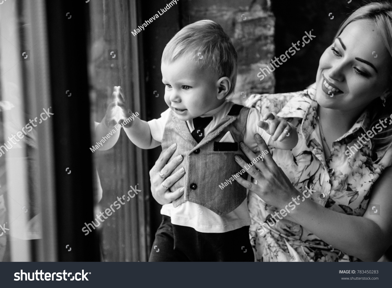 Mom Son Near Window Kid Blond Stock Photo Edit Now 783450283