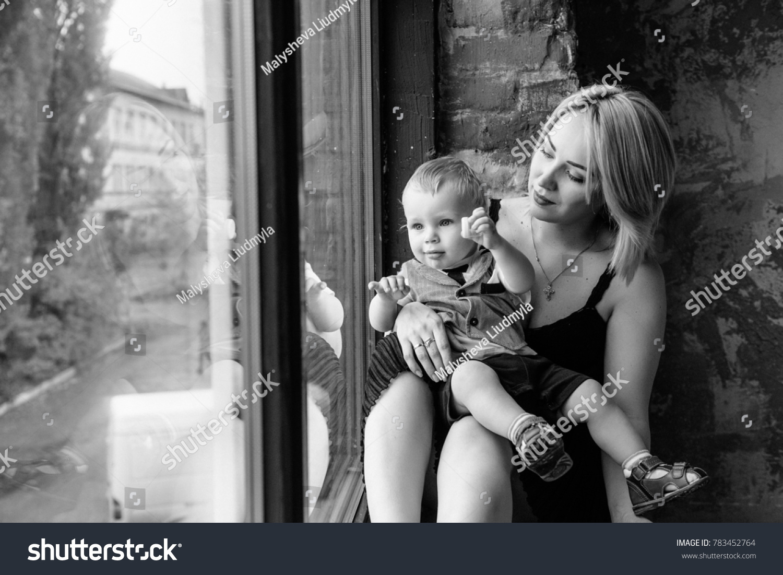 Mom Son Near Window Kid Blond Stock Photo Edit Now 783452764