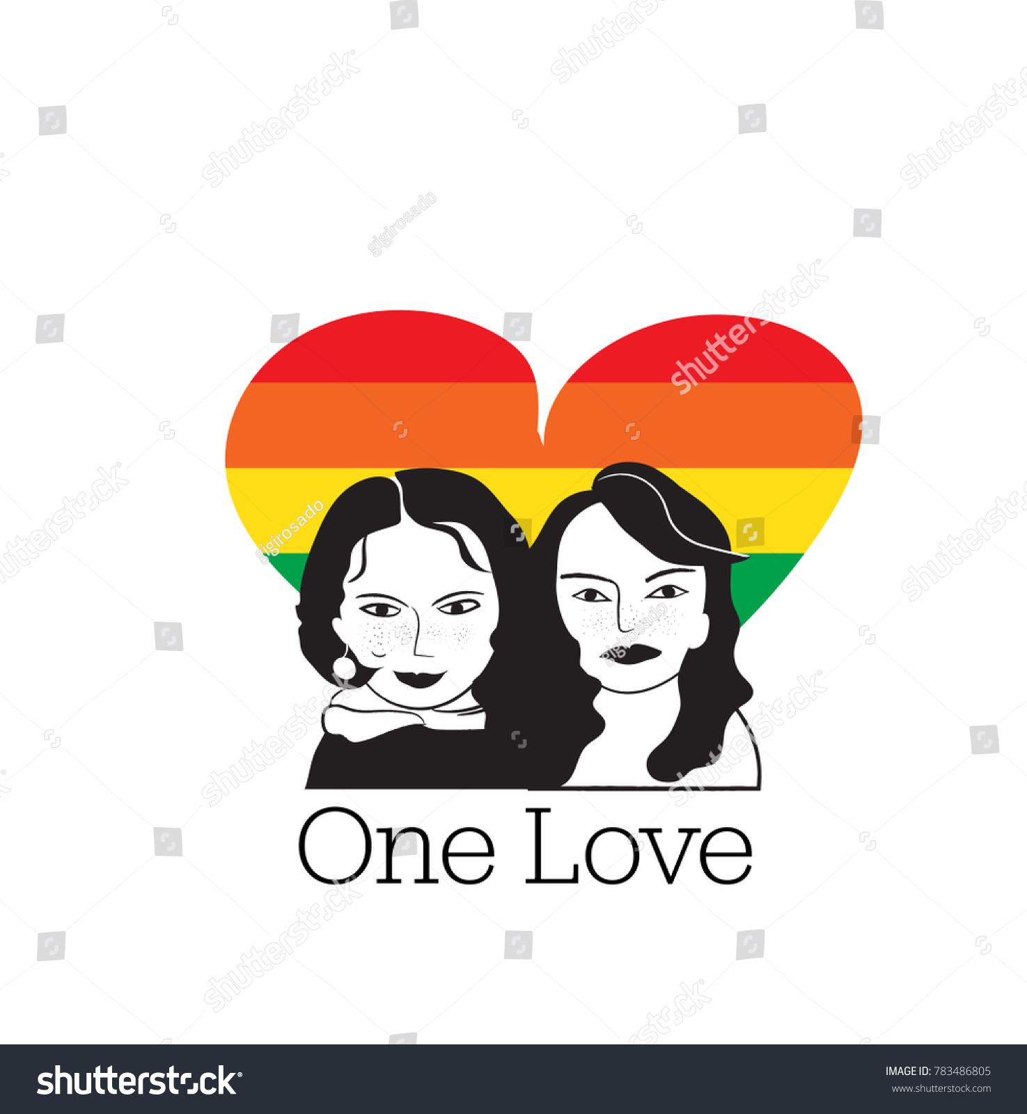 One Love Vector Illustration Gay Rainbow Stock Vector Royalty Free