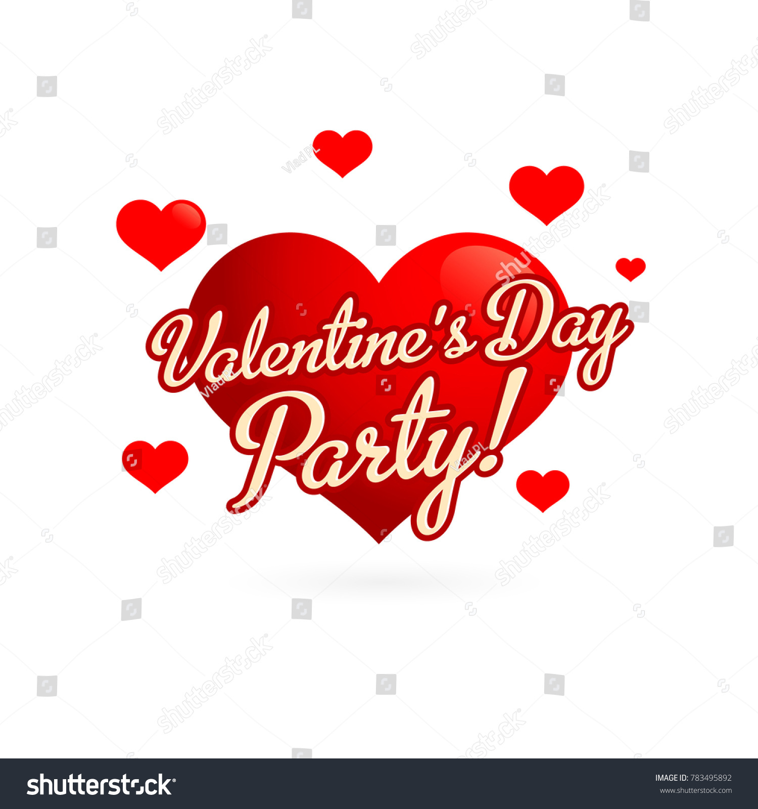 Valentines Day Party Invitation Card Red Stock Vector 783495892 ...
