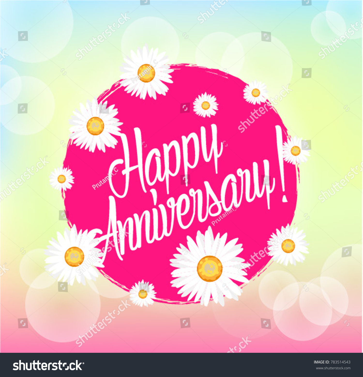 Happy Anniversary Beautiful Greeting Card With Bunch Flowers