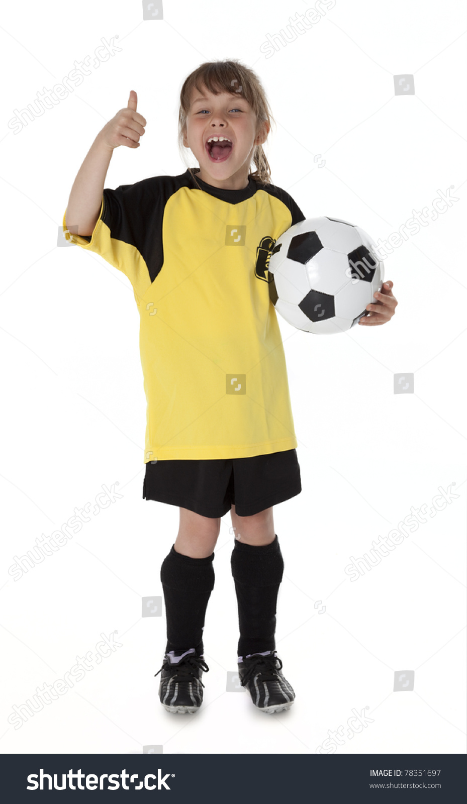 dd04c16b2 Cute Little Girl Dressed Soccer Clothes Stock Photo (Edit Now ...