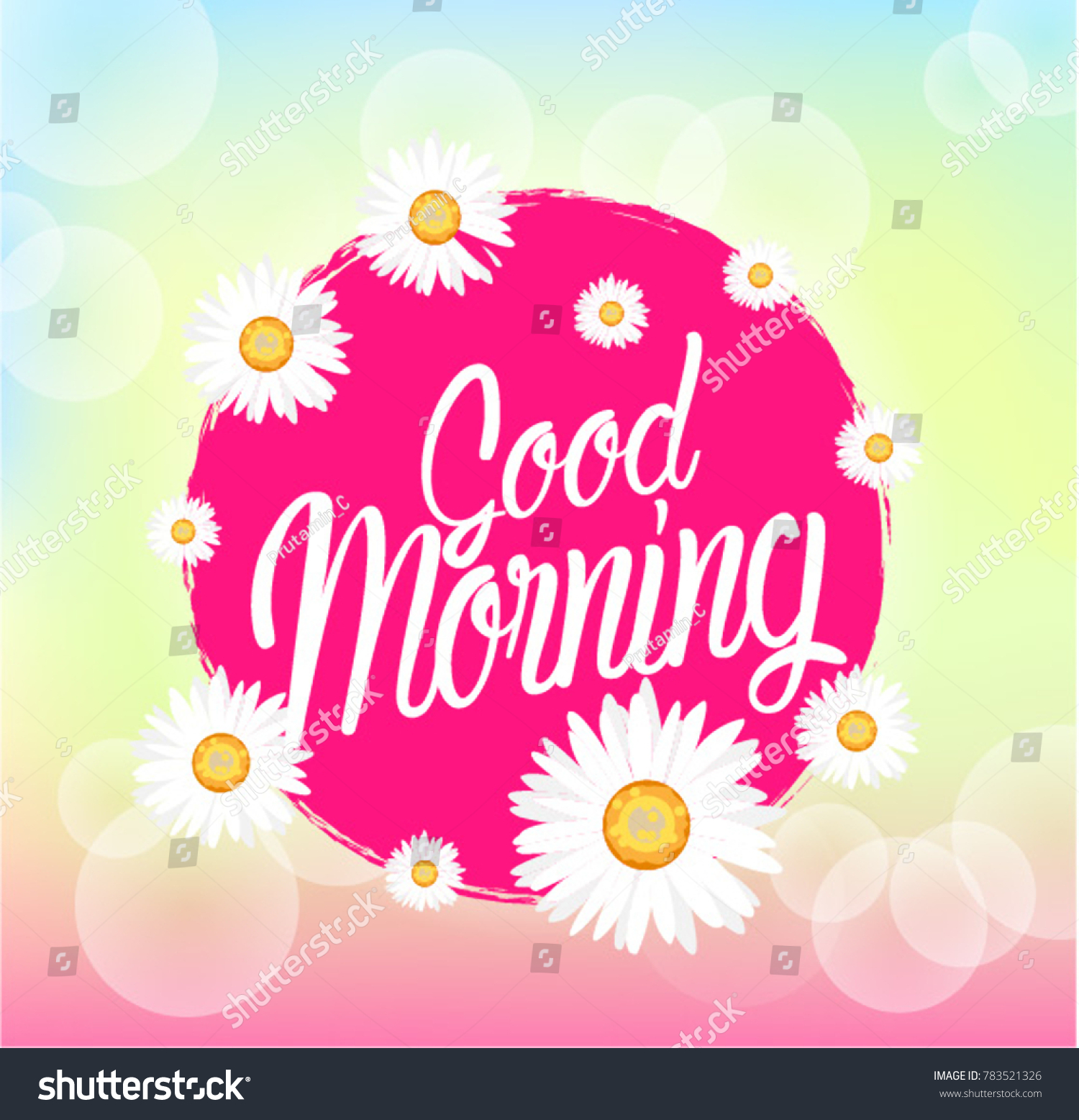 Good Morning Beautiful Greeting Card Bunch Stock Vector Royalty