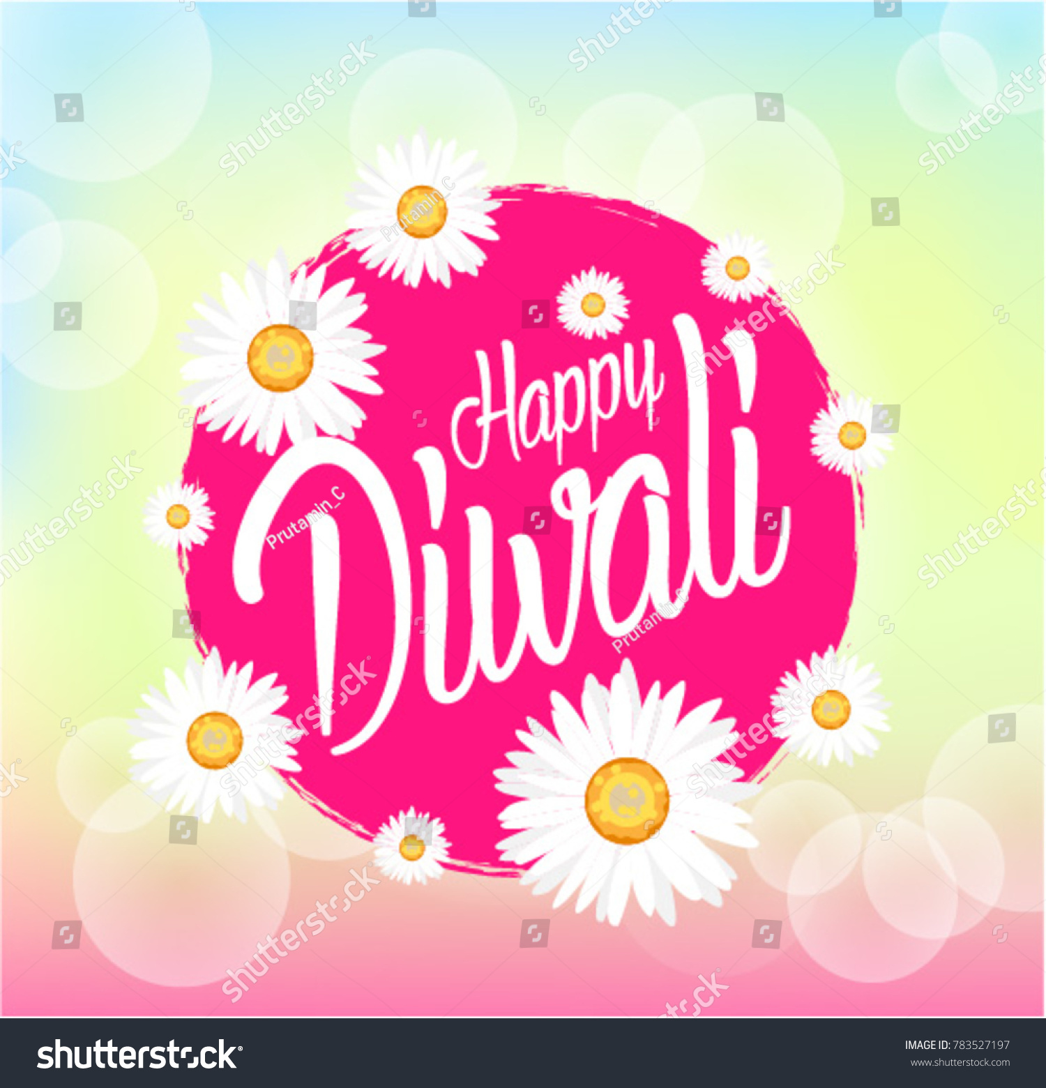 Happy Diwali Beautiful Greeting Card Bunch Stock Vector Royalty