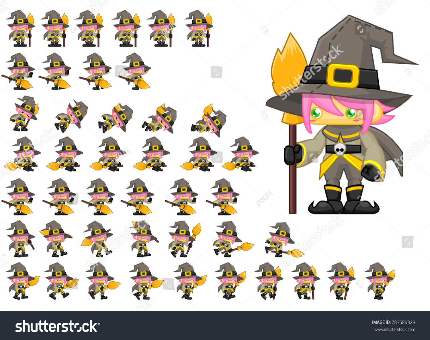 animated cute witch girl halloween video stock vector (royalty free