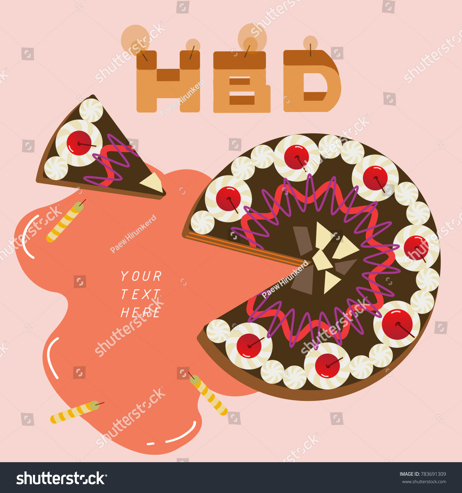 Happy Birthday Black Forest Cake Text Stock Vector Royalty Free