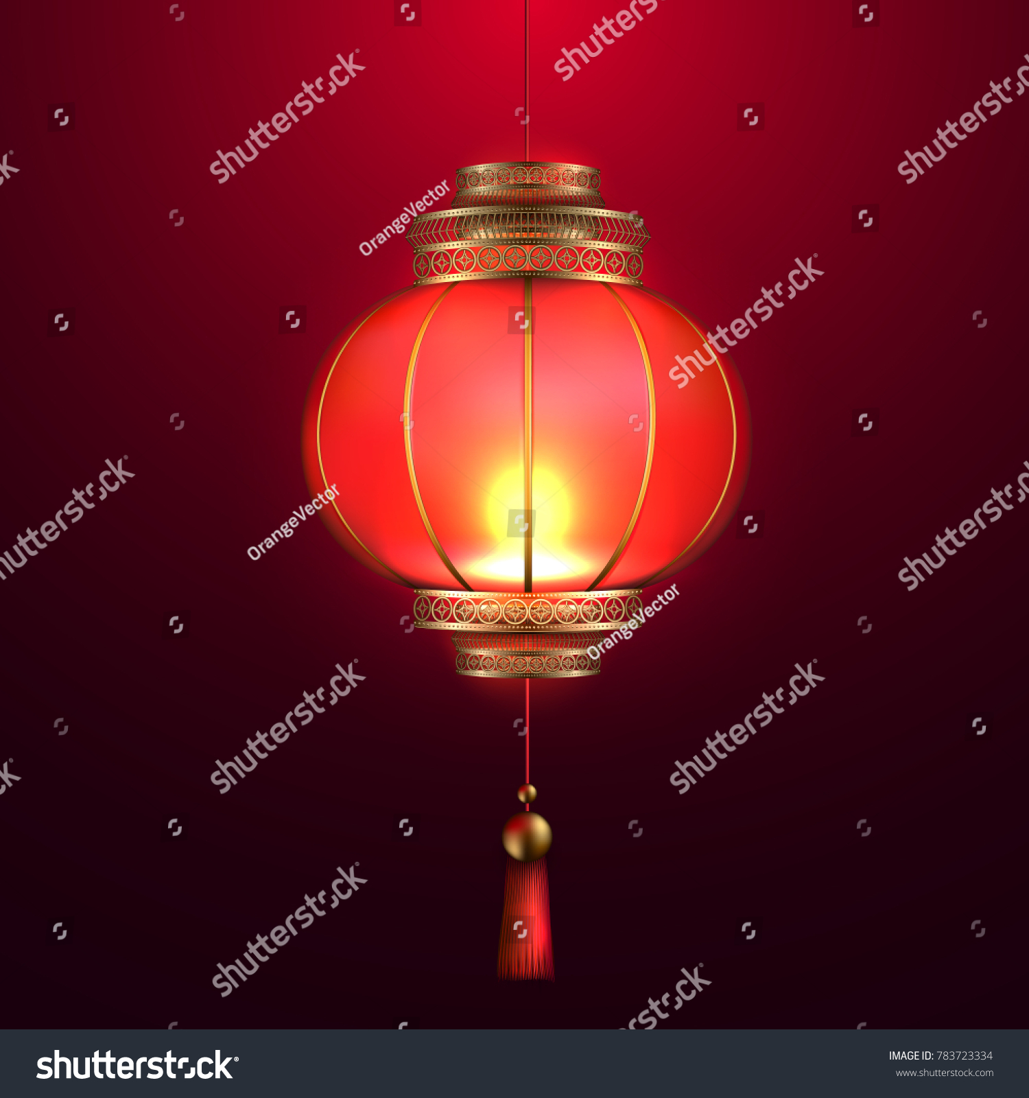 Vector Realistic Chinese Lantern 3 D Detailed Stock Vector Royalty