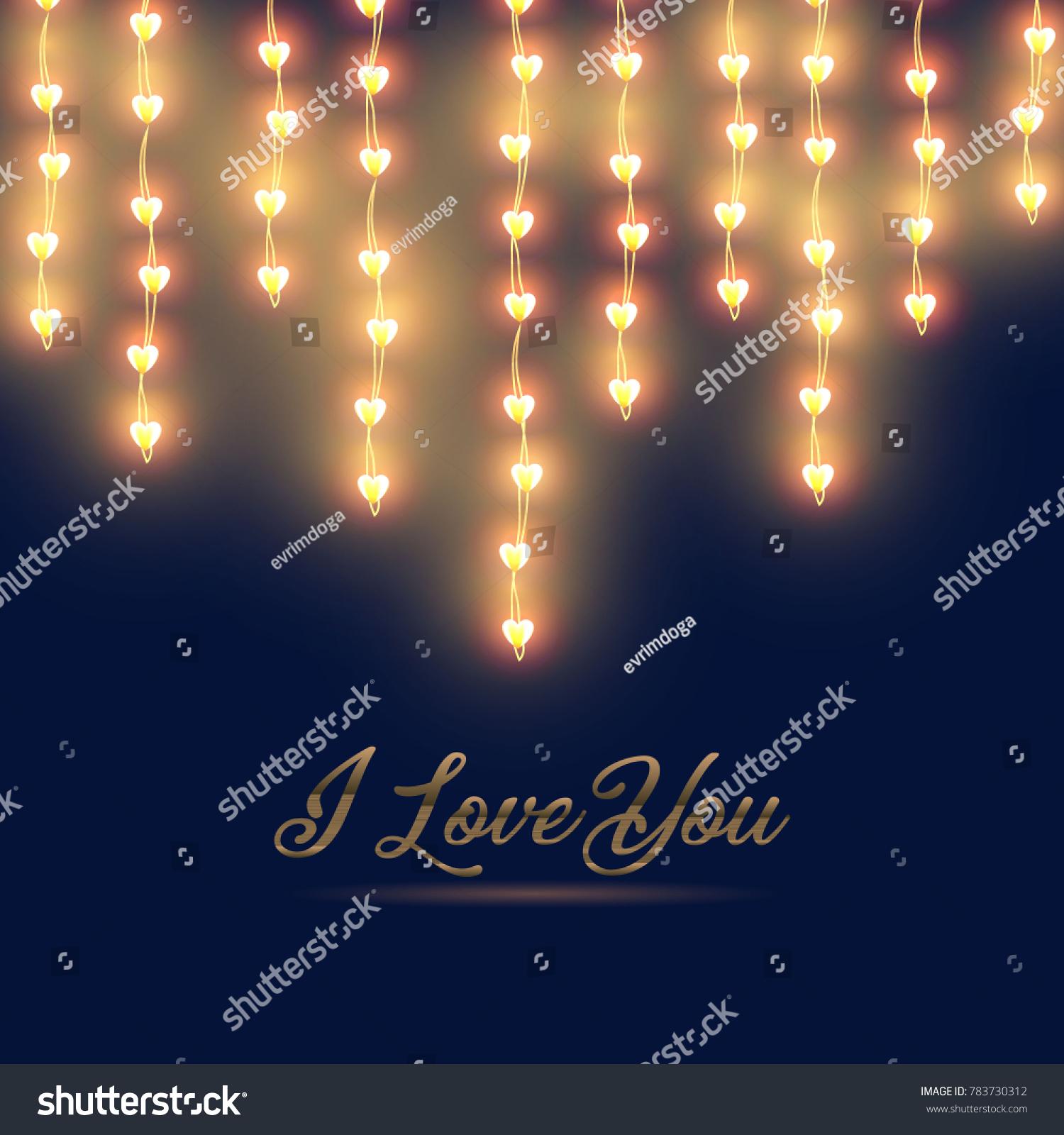 happy valentines day horizontal heart lights stock vector (royalty